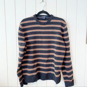 J Crew Blue and Orange Stripe Lambs Wool Sweater